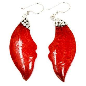 """Handmade 925 Silver """"Coral"""" Earrings Leaf Drop"""