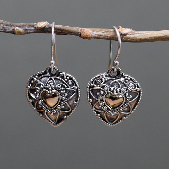 Handmade Silver & Gold Mixed Earrings Mandala Hearts