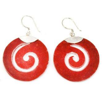 925 Silver ''Coral'' Earrings Scroll Designs