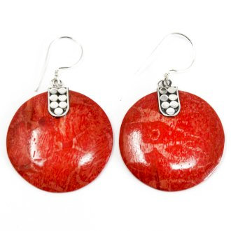 "Handmade 925 Silver ""Coral"" Earrings Disc Décor"