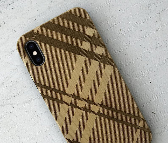 Real Wood Engraved Phone Cover - Burberry