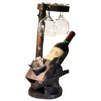 Wine Bottle Holder with Glass Holder