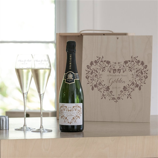 Personalised Golden Wedding Champagne Gift Set