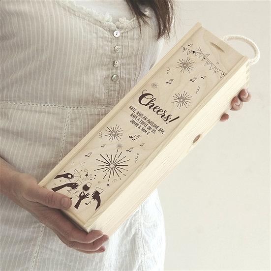 Engraved 'Cheers' Wine Box