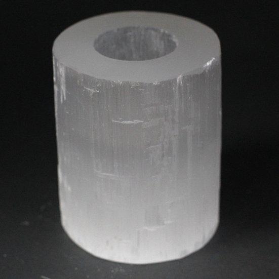 Selenite Cylinder Candle Holder - 10 cm