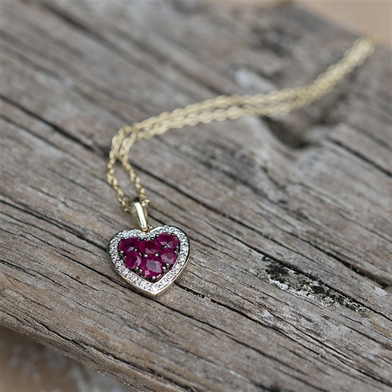 Handmade Ruby and Diamond Heart Gold Necklace