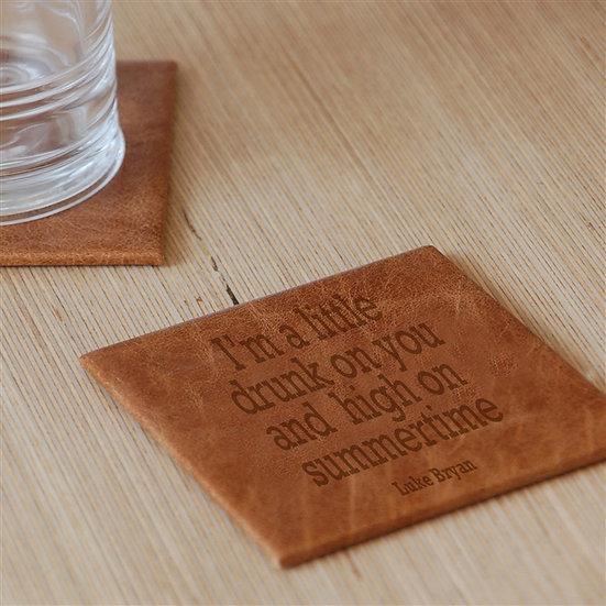 Personalised Handmade Genuine Leather Lyric Coaster