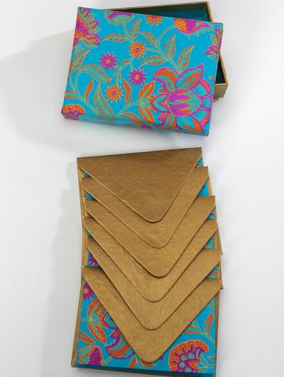 Handmade Turquoise Floral Twist Boxed Notelets