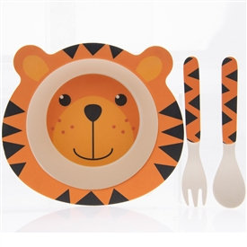 Bamboo Animal Eating Set - Tiger