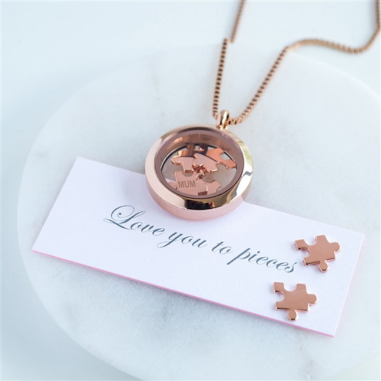 Handmade Rose Gold 'Love You To Pieces' Necklace