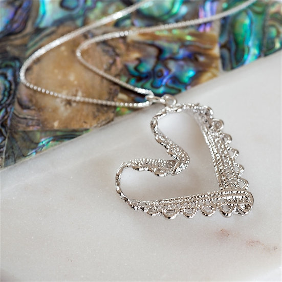 Handmade Lace Heart Necklace