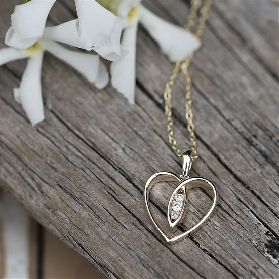 Handmade 9ct Gold Heart with Diamonds Necklace