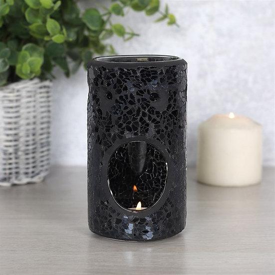 Black Crackle Oil Burner Pillar