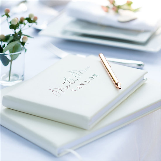 Handmade Personalised Leather Wedding Guest Book