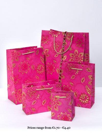 Hot Pink Handmade Dahlia Giftbags