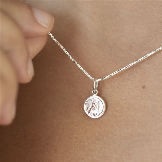 Handmade Sterling Tiny St Christopher Necklace