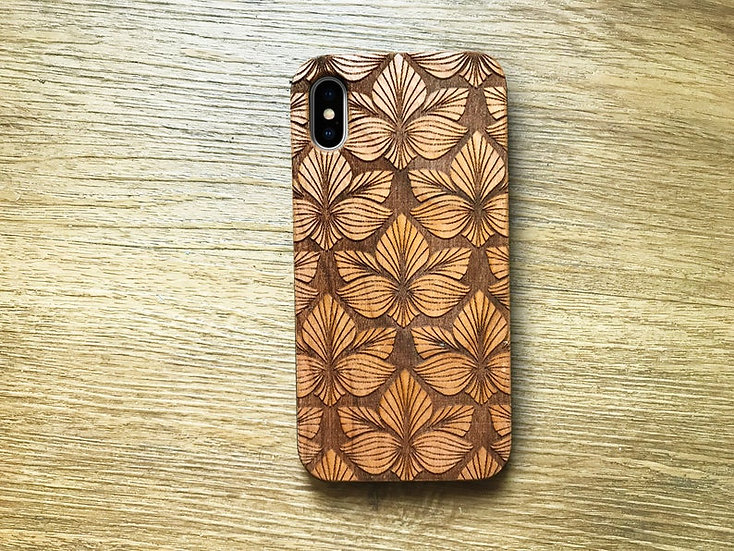 Real Wood Engraved Phone Cover - Flower