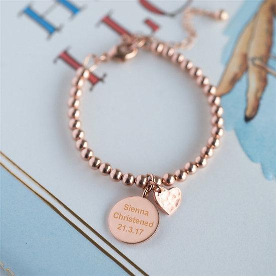 Handmade Rose Gold Beaded Baby Bracelet