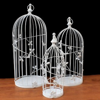 Vintage Bird Cages - Set of Tall Round