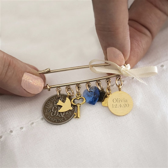 Personalised Gold or Silver Wedding Pin
