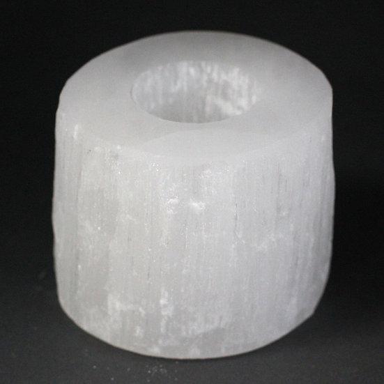 Selenite Cylinder Candle Holder - 8 cm