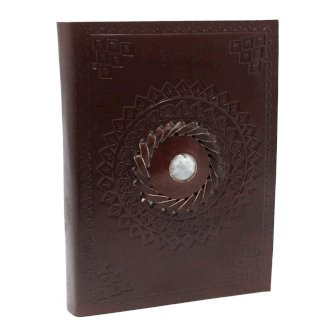 Leather Notebook, Lined Paper - Moonstone