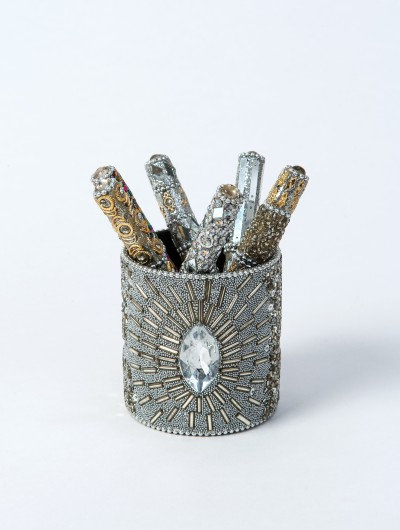 Silver Jewelled Pen Pot