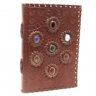 Leather Notebook, Lined Paper - Chakra Stones