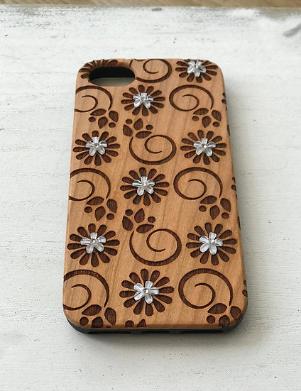 Real Wood Engraved Phone Cover - Crystal Flowers