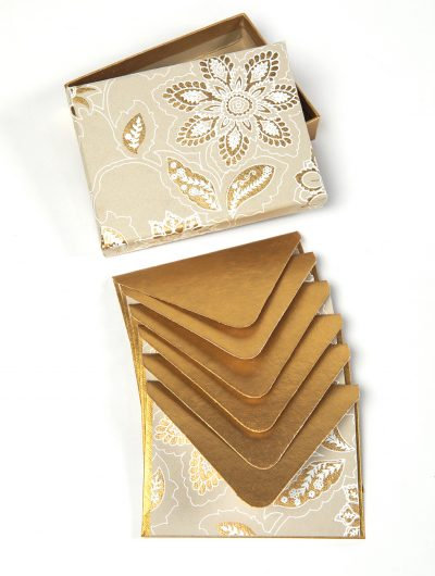 Handmade Beige/Gold Dahlia Boxed Notelets