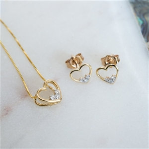 Handmade Gold Diamond Heart Set