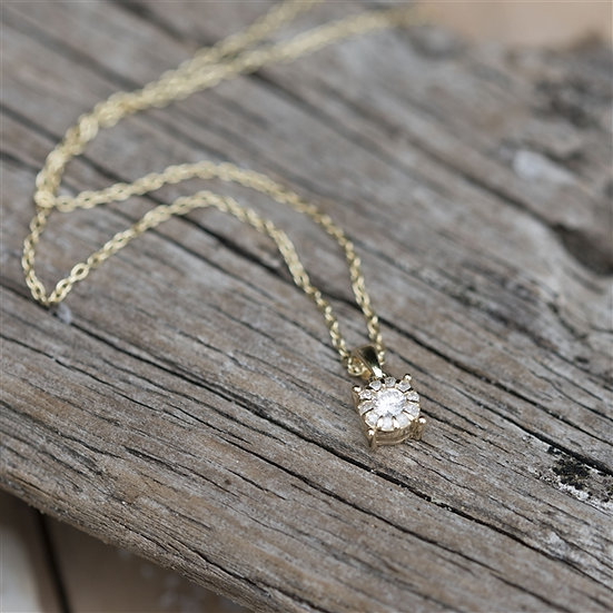 Handmade 9ct Yellow Gold Solitaire Diamond Necklace