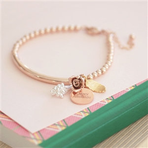 Handmade Bouquet Rose Gold Bracelet