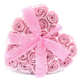 Luxury Handmade Soap Flowers, Heart Box 24