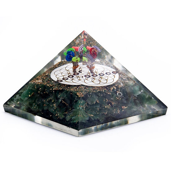 Orgonite Pyramid - Green Acewnturine and Flower of Life - 70 mm