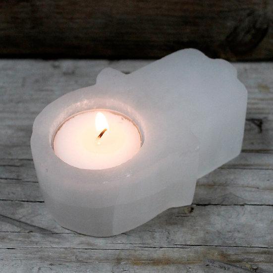 Selenite Hamsa Candle Holder