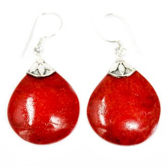 "Handmade 925 Silver ""Coral"" Earrings Ball Drops"