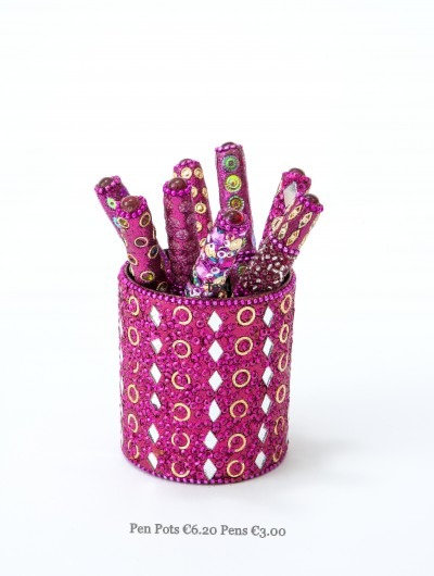 Gold Mirror & Jewels Pen Pots