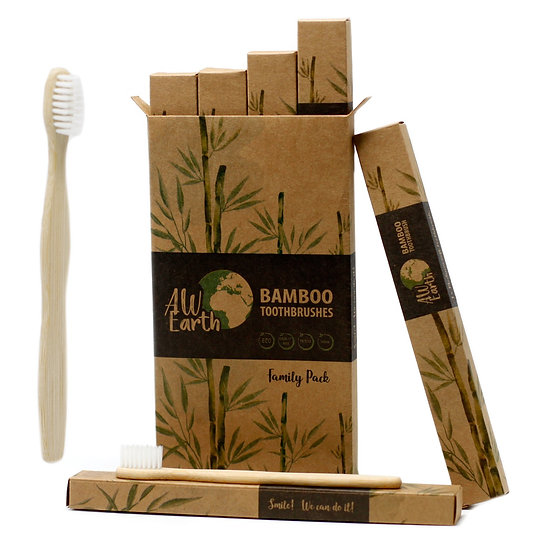 Bamboo Toothbrushes - Family Pack of 4, 2 Small, 2 Medium