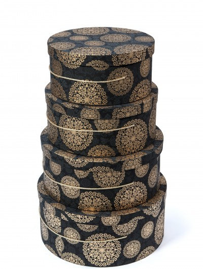 Black Medallion Hat Box Nest