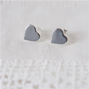 Handmade Sterling Silver Heart Studs