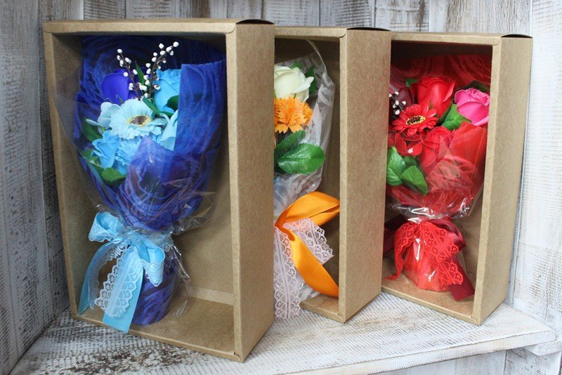 Luxury Handmade Soap Flowers, Boxed Bouquets