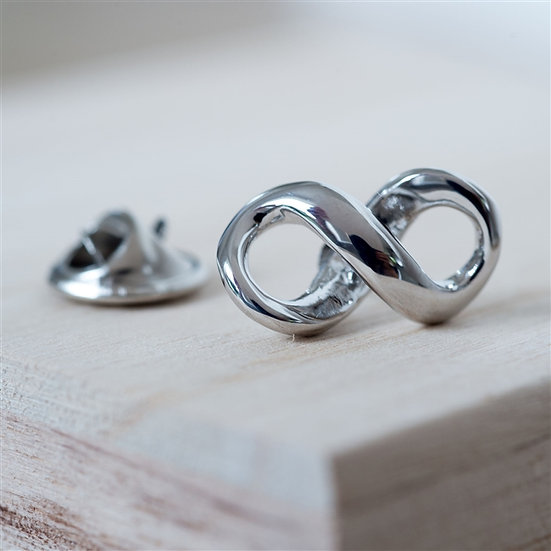 Personalised Silver Infinity Pin