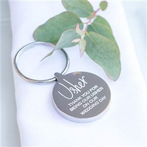 Personalised Stainless Steel Usher Wedding Keyring