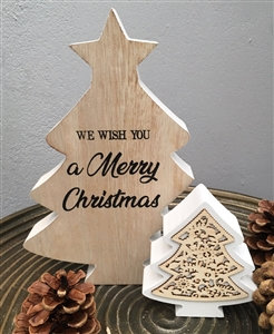 Merry Christmas Standing Double Tree Plaque 20cm