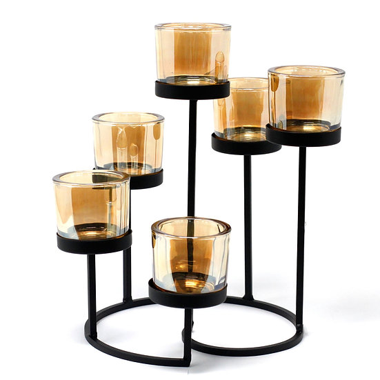 Iron Votive Candle Holder - 6 Cup Circle Tree