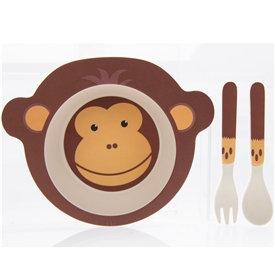 Bamboo Animal Eating Set - Monkey