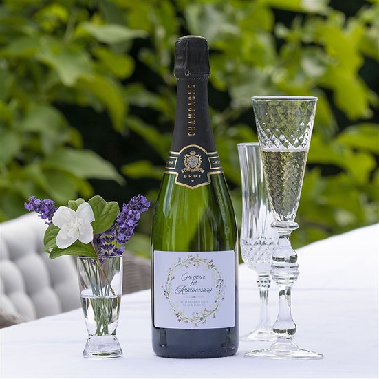 Personalised 'On Your 1st Anniversary' Champagne
