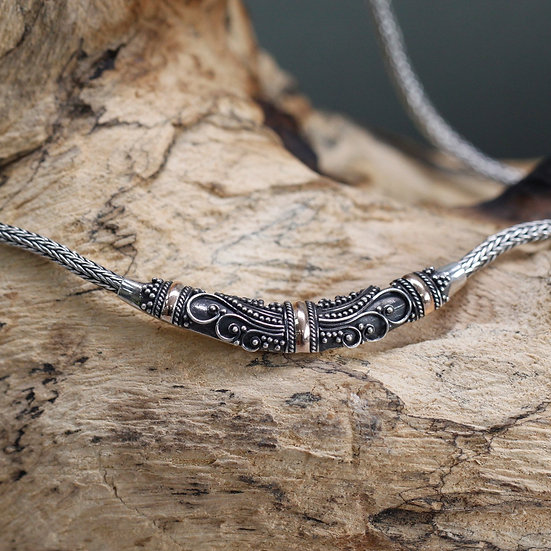 Handmade Silver & Gold Mixed Necklace