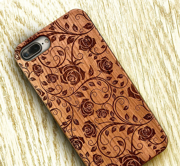 Real Wood Engraved Phone Cover - Roses